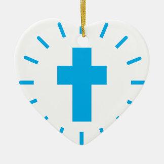 Ornement Cœur En Céramique Croix de Jésus-Christ