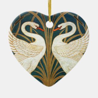 Ornement Cœur En Céramique Cygne de grue de Walter, précipitation et art