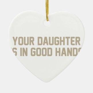 Ornement Cœur En Céramique Dans de bonnes mains