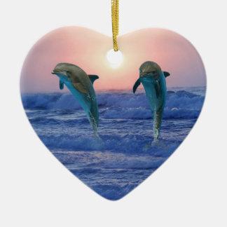 Ornement Cœur En Céramique Dauphin de Bottlenose au lever de soleil