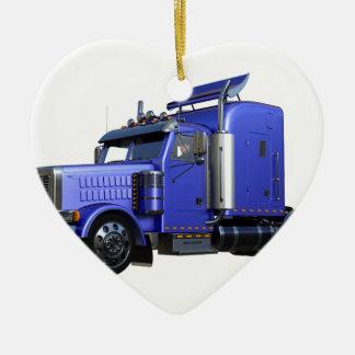 Ornement Cœur En Céramique De bleu camion de remorque métallique de tracteur