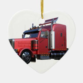 Ornement Cœur En Céramique De rouge camion métallique de Traler de tracteur