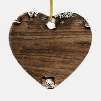 Ornement Cœur En Céramique décor en bois de joie de vacances de neige de Noël