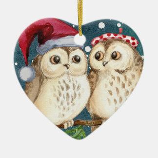 Ornement Cœur En Céramique Décoration d'ornement de Noël de coeur de hiboux
