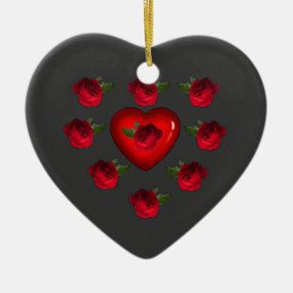Ornement Cœur En Céramique Des fleurs pour Valentin -