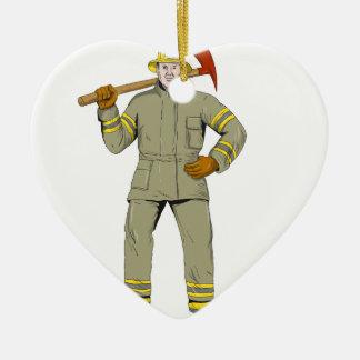 Ornement Cœur En Céramique Dessin américain de hache du feu de sapeur-pompier