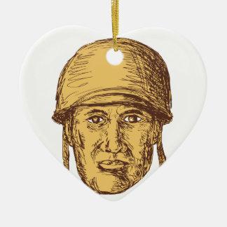 Ornement Cœur En Céramique Dessin américain de tête de soldat de 2ÈME GUERRE