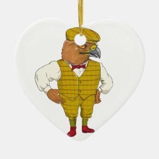 Ornement Cœur En Céramique Dessin anglais d'Outdoorsman de faucon