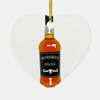 Ornement Cœur En Céramique Dessin de bouteille de whiskey d'isolement sur