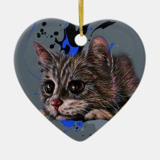 Ornement Cœur En Céramique Dessin de chaton comme chat avec l'art de peinture