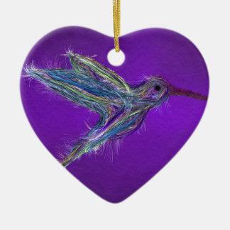 Ornement Cœur En Céramique Dessin de colibri