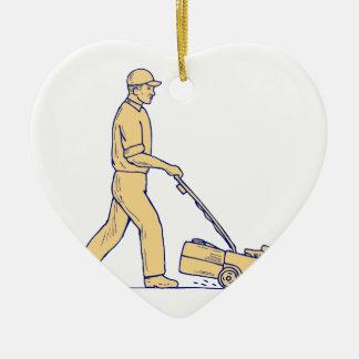 Ornement Cœur En Céramique Dessin de fauchage de tondeuse à gazon de