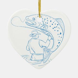 Ornement Cœur En Céramique Dessin de pêche de truite de pêcheur de mouche