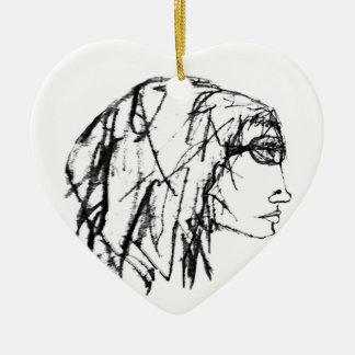 Ornement Cœur En Céramique Dessin frais de portrait de femme