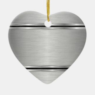 Ornement Cœur En Céramique Dessin géométrique métallique gris
