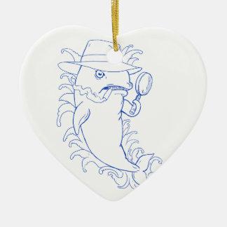 Ornement Cœur En Céramique Dessin révélateur d'épaulard d'orque