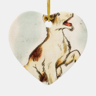 Ornement Cœur En Céramique Dessin vintage de chien d'écorcement