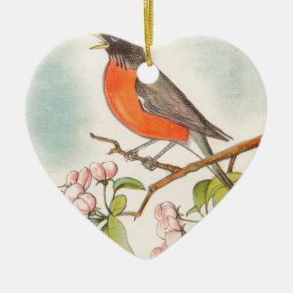 Ornement Cœur En Céramique Dessin vintage de Robin