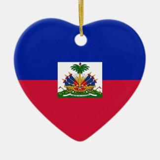 Ornement Cœur En Céramique d'Haïti de Drapeau - drapeau du Haïti