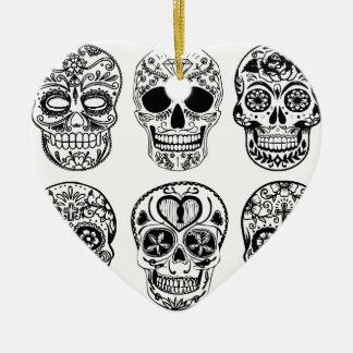Ornement Cœur En Céramique Dia de los Muertos Skulls (jour des morts)