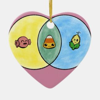 Ornement Cœur En Céramique Diagramme de Venn de bonbons au maïs