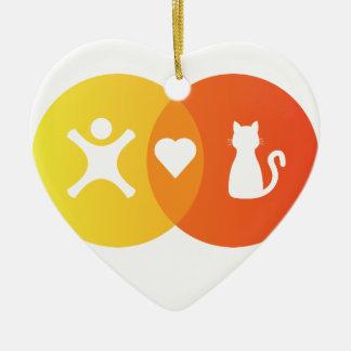 Ornement Cœur En Céramique Diagramme de Venn de chats de coeur de personnes
