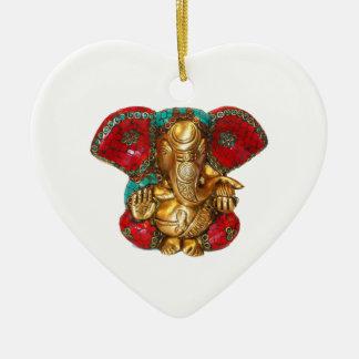Ornement Cœur En Céramique DIWALI heureux - Merci GANAPATI Ganesh