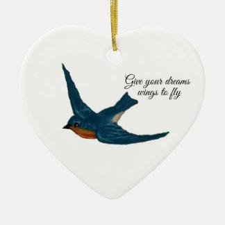 """Ornement Cœur En Céramique """"Donnez vos ailes rêveuses à la mouche"""" avec"""