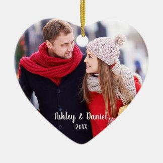 Ornement Cœur En Céramique Dos rouge de neige de coeur de photo de couples de