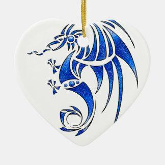 Ornement Cœur En Céramique Dragissous V1 - dragon bleu