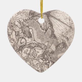 Ornement Cœur En Céramique Dragon avec la licorne de pentagone étoilé