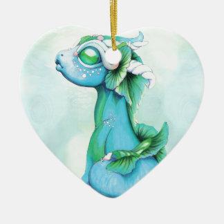 Ornement Cœur En Céramique Dragon d'eau décousu