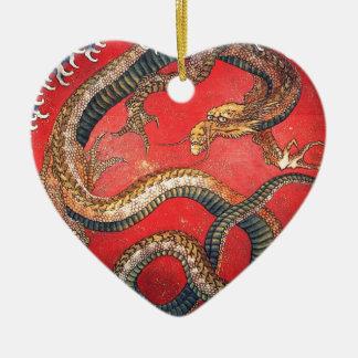 Ornement Cœur En Céramique Dragon japonais