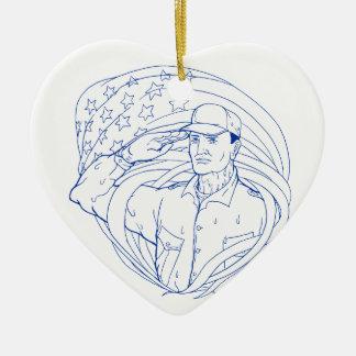 Ornement Cœur En Céramique Drapeau américain Ukiyo-e de salut de soldat