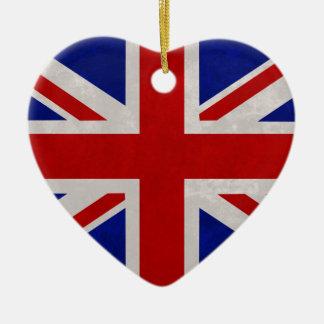 Ornement Cœur En Céramique Drapeau Anglais d'Angleterre texturé