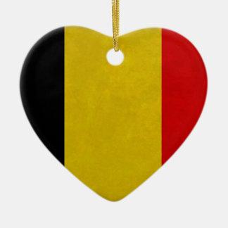 Ornement Cœur En Céramique Drapeau Belgique Belge