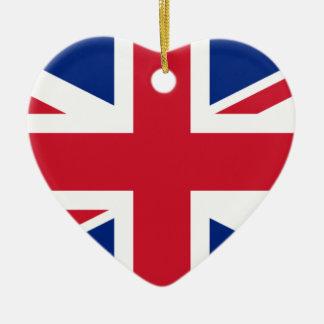"""Ornement Cœur En Céramique Drapeau BRITANNIQUE """"Union Jack """" du Royaume-Uni"""