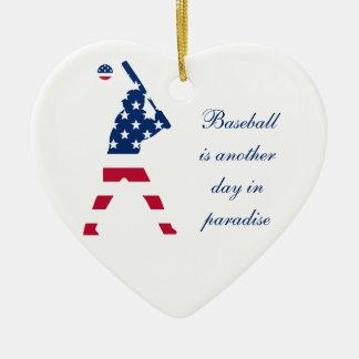 Ornement Cœur En Céramique Drapeau d'Américain de base-ball de l'Amérique
