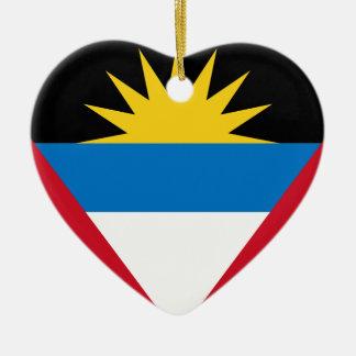 Ornement Cœur En Céramique Drapeau d'Antigua-et-Barbuda