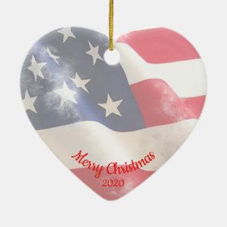 Ornement Cœur En Céramique Drapeau daté des Etats-Unis d'amour de Noël de