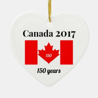 Ornement Cœur En Céramique Drapeau de coeur du Canada 150 en 2017