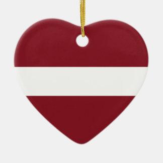 Ornement Cœur En Céramique Drapeau de la Lettonie