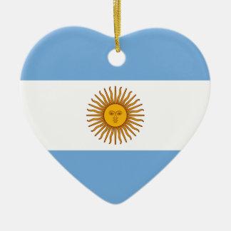 Ornement Cœur En Céramique Drapeau de l'Argentine