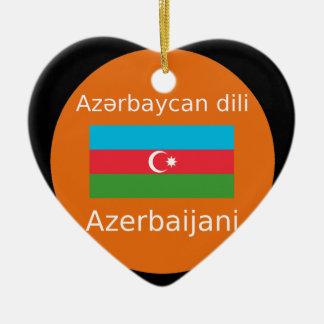 Ornement Cœur En Céramique Drapeau de l'Azerbaïdjan et conception de langue