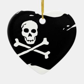 Ornement Cœur En Céramique Drapeau de pirate