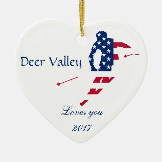 Ornement Cœur En Céramique Drapeau des Etats-Unis d'Américain de ski de