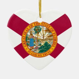 Ornement Cœur En Céramique Drapeau d'état de la Floride