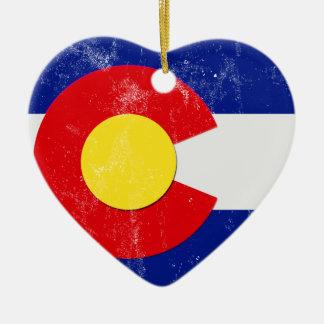 Ornement Cœur En Céramique Drapeau du Colorado affligé