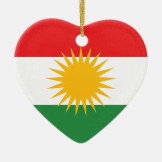 Ornement Cœur En Céramique Drapeau du Kurdistan ; Kurde ; Kurde