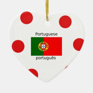 Ornement Cœur En Céramique Drapeau du Portugal et conception portugaise de
